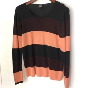 ICHI Bold Stripe Light Knit Long Sleeve Sweater L